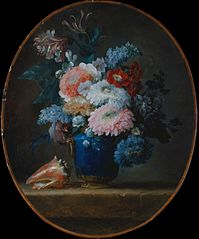 Vase of Flowers and Conch Shell
