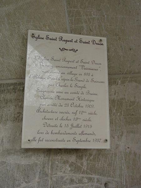 Vasseny (Aisne) église Saint-Rupert et Saint-Druon, plaque detruite reconstruite