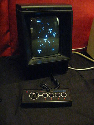 Vectrex - European release Vectrex playing the built-in game Minestorm, without overlay.