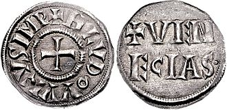 Coinage of the Republic of Venice - Denarius of Louis the Pious (minted 819-822).