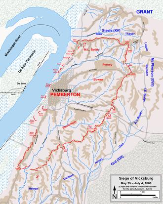 Siege Of Vicksburg Wikipedia - Vicksburg-on-us-map