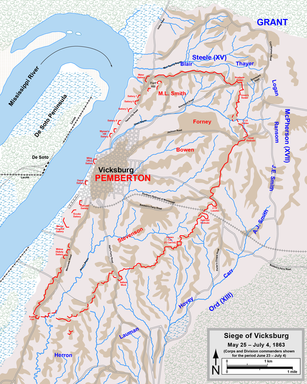 Siege of Vicksburg. Corps and division commanders are shown for the period June 23 - July 4. VicksburgSiege.png