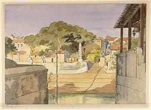 English: View of the ghat at Banganga Tank and...