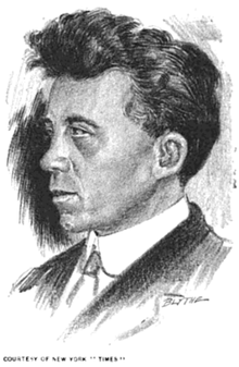 Sketch of a serious-looking young man with piercing eyes and unruly dark hair, in coat and tie, in left half-profile