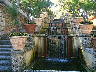 Landscape design - 'Water stair' fountain in the garden at Villa Vizcaya