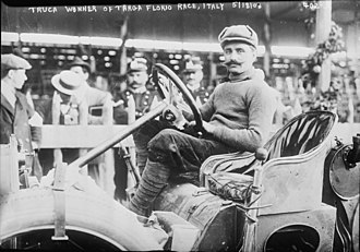 Targa Florio - Vincenzo Trucco, winner of the 1908 Targa Florio driving an Isotta Fraschini