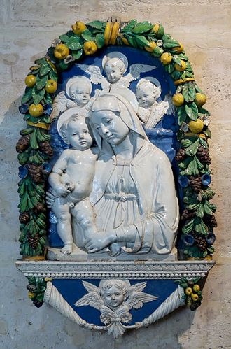Andrea della Robbia - Madonna with Child and Angels (Louvre Museum).