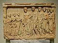 Votive Relief offered to Asklepios Pentelic Marble from Loukou 375-350 BCE NAM Athens.jpg