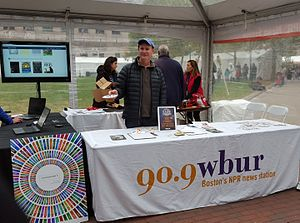 WBUR-FM - The WBUR-FM information booth at the 2015 Boston Book Festival.
