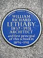 WILLIAM RICHARD LETHABY 1857-1931 ARCHITECT and first principal of this School in 1896-1911.jpg