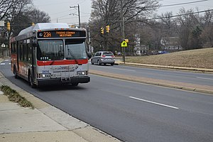 Metrobus (Washington, D.C.) - A Metrobus operating the 23A northbound route is seen driving on North Glebe Road in Arlington County, Virginia.