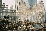 WTC-Wreckage-exterior shell of south tower