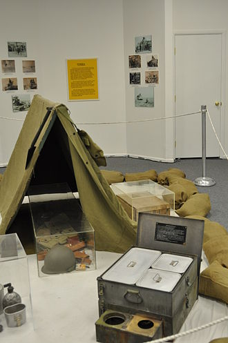 1st Armored Division (United States) - This exhibit at the 1st Armored Division and Fort Bliss museum depicts the type of bivouac site used by Iron Soldier in North Africa in WWII.  Soldiers slept in cloth tents and carried chests of equipment and stoves.