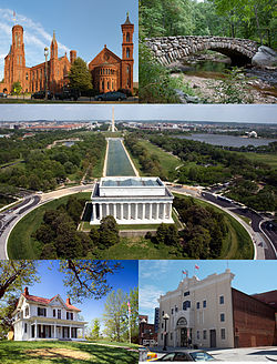 Top left: Smithsonian Institution Building; top right: Rock Creek Park; middle: National Mall, including the Lincoln Memorial in the foreground; bottom left: Frederick Douglass National Historic Site; bottom right: Howard Theatre