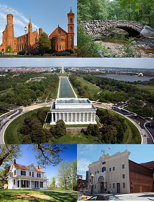 "Clockwise from top left: <a href=""http://search.lycos.com/web/?_z=0&q=%22Smithsonian%20Institution%20Building%22"">Smithsonian Institution Building</a>, <a href=""http://search.lycos.com/web/?_z=0&q=%22Rock%20Creek%20Park%22"">Rock Creek Park</a>, <a href=""http://search.lycos.com/web/?_z=0&q=%22National%20Mall%22"">National Mall</a> (including the <a href=""http://search.lycos.com/web/?_z=0&q=%22Lincoln%20Memorial%22"">Lincoln Memorial</a> in the foreground), <a href=""http://search.lycos.com/web/?_z=0&q=%22Howard%20Theatre%22"">Howard Theatre</a> and the <a href=""http://search.lycos.com/web/?_z=0&q=%22Frederick%20Douglass%20National%20Historic%20Site%22"">Frederick Douglass National Historic Site</a>"