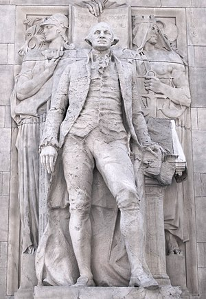 Alexander Stirling Calder - George Washington as President, Accompanied by Wisdom and Justice (1917–18), Washington Square Arch, New York. This is sometimes called Washington at Peace.