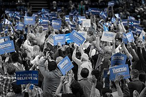 Nevada Democratic caucuses and convention, 2016 - Tension arises at the Washoe County Democratic Convention 2016, between Sanders supporters in front and Clinton supporters behind.