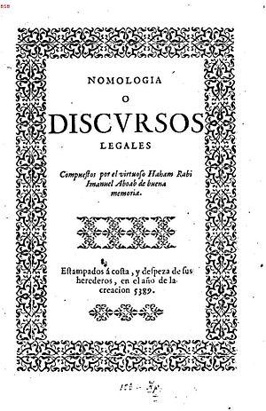 Immanuel Aboab - Nomologia o Discursos Legales (1629).