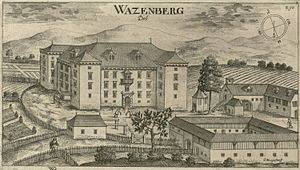 Slovenska Vas, Šentrupert - Wazenberg Castle as depicted in an engraving by Johann Weikhard von Valvasor published in 1679