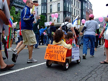 Boston gay pride march, held annually in June Were a gay and happy family wagon.jpg
