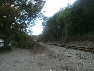 Oakland, New Jersey - The former West Oakland station site, as viewed in October 2011, 45 years after station service ended.