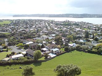 Mangere Bridge, New Zealand - Western part of the suburb seen from Mangere Domain.