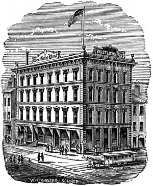 Streetcars in St. Louis - A Horsecar passes in front of the Westliche Post offices downtown, 1874