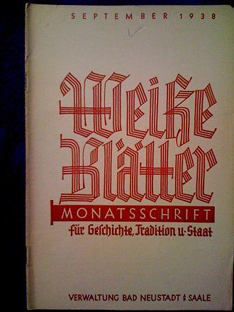 Karl Ludwig Freiherr von und zu Guttenberg - Title page of the White Papers of September 1938