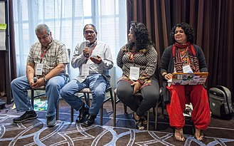Anasuya Sengupta - Sengupta (far right) in a panel discussion at Wikimania 2017 in Montreal