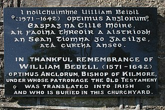 William Bedell - Plaque on a gate pillar of the graveyard beside Kilmore Cathedral, County Cavan