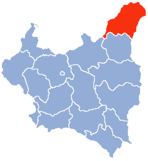 Wilno Voivodeship (1926–1939) - Location of Wilno Voivodeship (red) within the Second Republic of Poland (1938).