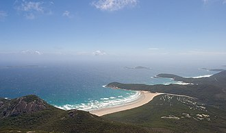 Wilsons Promontory National Park - Tidal River as viewed from the summit of Mount Oberon