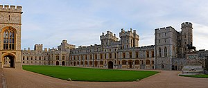 Windsor Castle - The South Wing of the Upper Ward; the Official Entrance to the State Apartments is on the left.