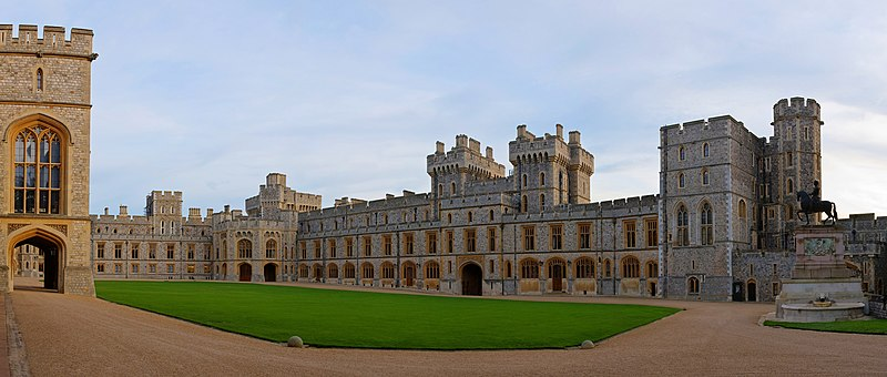 Windsor Castle's Upper Ward from the north west —The Quadrangle—not open to tourists
