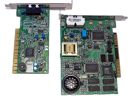 A PCI Winmodem/softmodem (on the left) next to a traditional ISA modem (on the right) WinmodemAndRegularModem.jpg