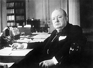 Winston Churchill as writer - Churchill at his desk in 1940