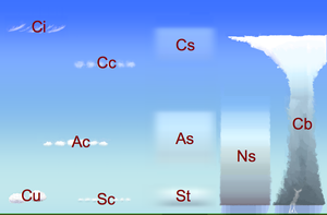 Station model - Cloud classification by altitude of occurrence (towering vertical cumulus congestus not shown)