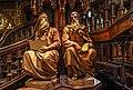 Wood Sculptures Christ sitting and teaching Saint Peter and Saint Paul on Notre-Dame de Montréal Basilica.jpg
