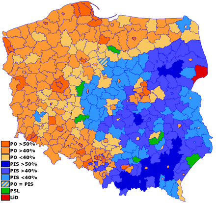 Powiats won by ■ – Civic Platform ■ – Law and Justice  ■ – Polish People's Party ■ – Left and Democrats