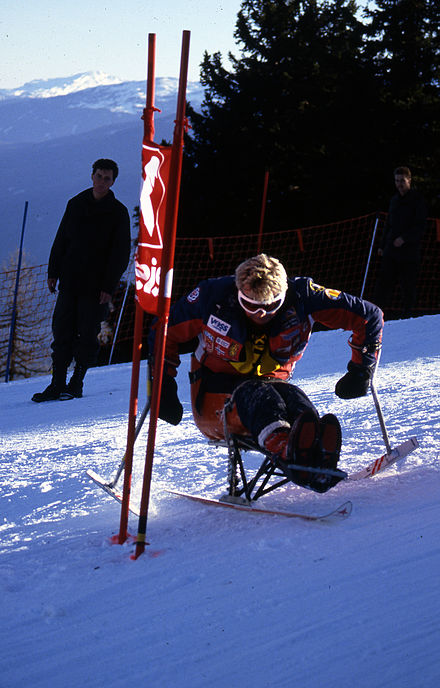 A Norwegian skier in the downhill at the 1988 Winter Paralympics Xx0188 - 1988 winter paralympics - 3b - scans (13).jpg