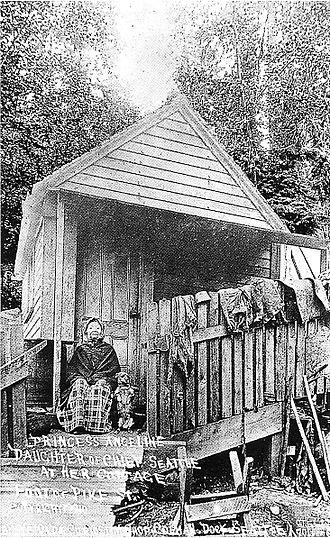 Princess Angeline - Postcard of Princess Angeline and her home near the foot of Pike Street, Seattle, Washington