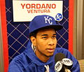 Yordano Ventura talks to reporters on -WSMediaDay. (22265741414).jpg