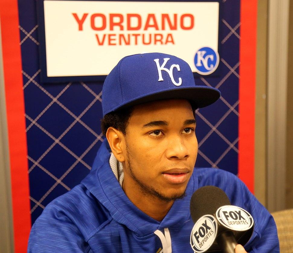 Yordano Ventura talks to reporters on -WSMediaDay. (22265741414)