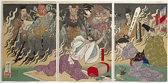 Taira no Kiyomori - While suffering from a fever, Taira no Kiyomori is confronted by a vision of hell and the ghosts of his victims, in an 1883 print by Yoshitoshi.