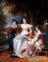Zoé Talon, comtesse du Cayla et ses deux enfants