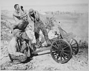"""""""After the Marines captured this mountain gun from the Japs at Saipan, they put it into use during the attack on Garapan - NARA - 532383"""