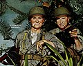 """U. S. MARINE RAIDERS"" ad detail, from- Watch our smoke ... it's Chesterfield, 1943 (cropped).jpg"