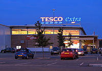 Tesco Extra at night