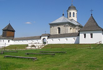 Halych - Dormition Cathedral with the restored medieval city walls