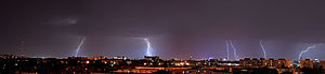 Lightning strike - Panorama photography taken during a lightning storm over Bucharest, Romania